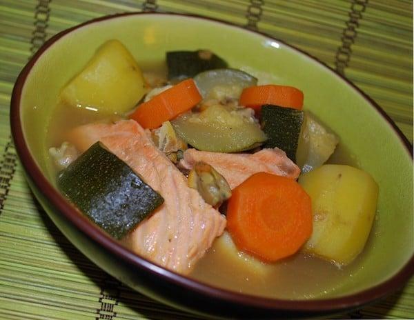 Pot-au-feu de poisson saumon