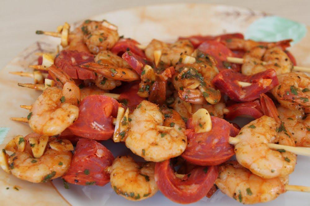 brochettes de crevettes chorizo
