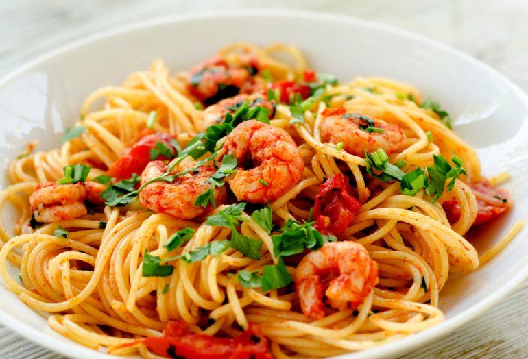spaghetti et crevettes sautees recette